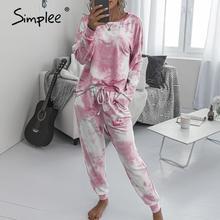 Simpleeカジュアル絞り染めスーツ女性のジャンプスーツプラスサイズルース長袖ピンクスーツオーバーサイズ弾性ウエストスーツ女性スーツ