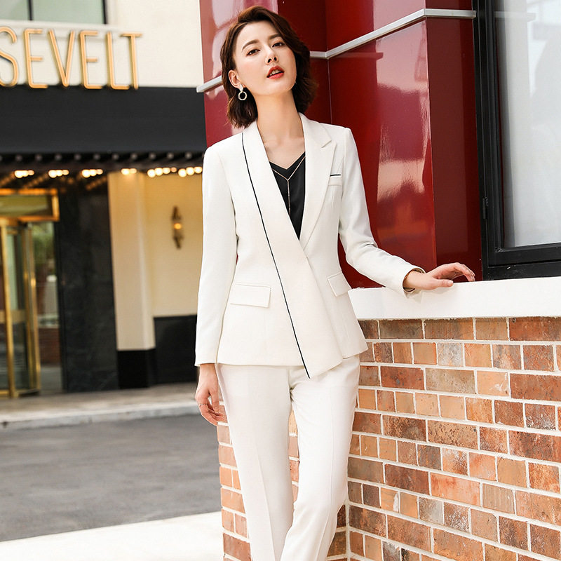 Women's Professional Pants Suit High Quality Temperament Long Sleeve White Blazer Elegant Overalls Slim Trousers Two-piece Set