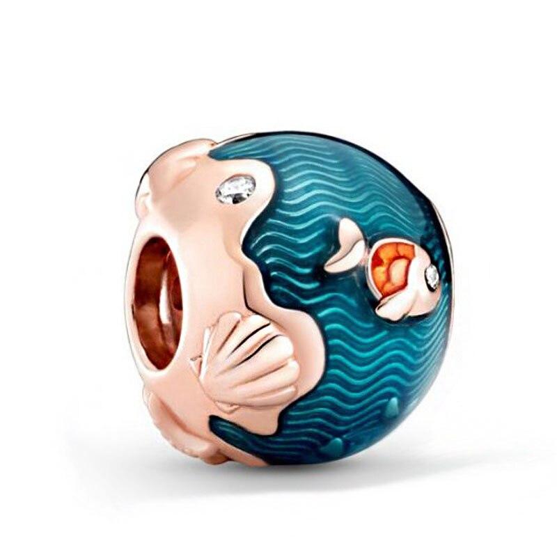 2020 Summer New 925 Sterling Silver Shimmering Ocean Waves Fish Charms Beads Fit Original Pandora Bracelets Women DIY Jewelry