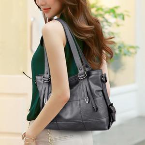 Image 3 - Ladies Retro Large Handbags Fashion PU Leather Shoulder Bag Female Large Tote Handbag Ladies Solid Color Luxury Tote Sac A Main