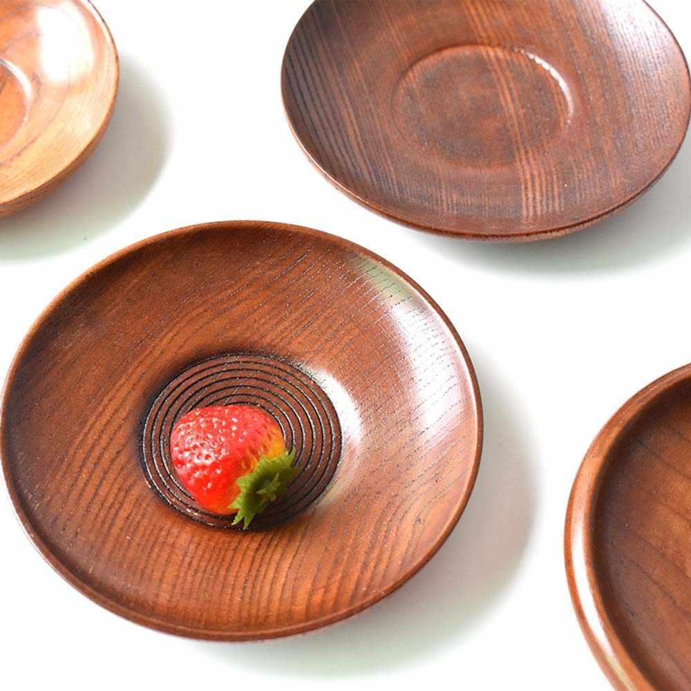 新和風ラウンド木製デザートプレートフルーツ皿ソーサー茶トレイデザートディナープレートホーム食器