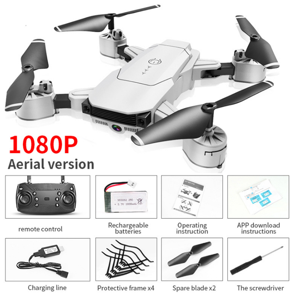 WiFi FPV Quadcopter RC Drone 1080P HD Camera Hight Hold Foldable RC Quadcopter Face Recognition Video Live Recording RC Drone
