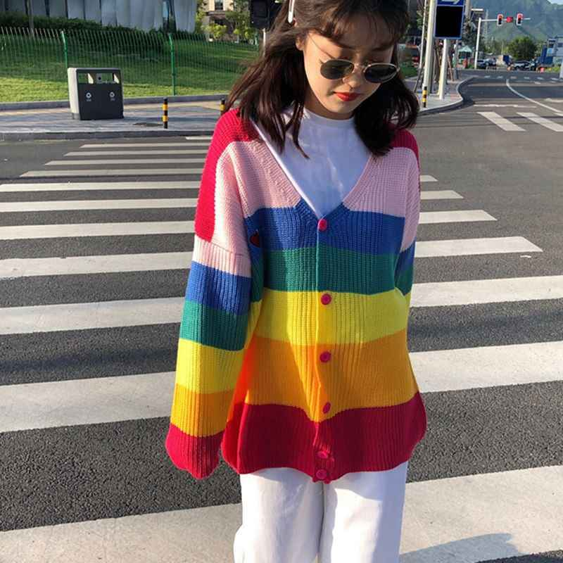 Wanita Musim Gugur Fashion Warna-warni Pelangi Sweter Bergaris Single Breasted Bordir Manis Santai Gadis Cardigan Sweater