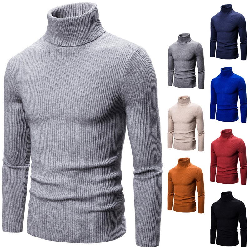Spring High Neck Thick Warm Sweater Men Turtleneck Brand Mens Sweaters Slim Fit Pullover Men Knitwear Male Double Collar