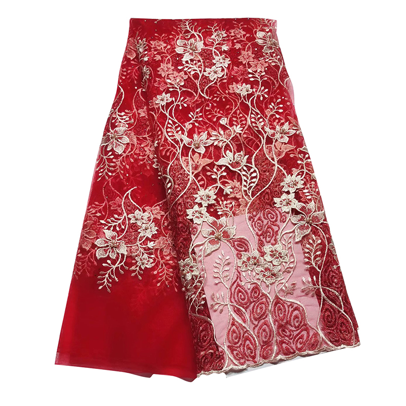 2020 African Tulle Lace Fabric Top Quality Nigerian French Embroidery 3D Tulle Lace Fabric With Beaded For Dress платье вечернеe