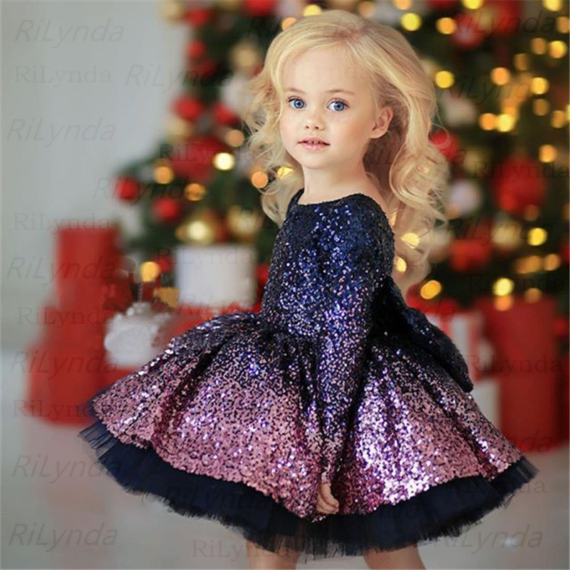 Dress Princess-Dresses Sequin Christmas Birthday-Dr Baby-Girl Red Black Summer Bow