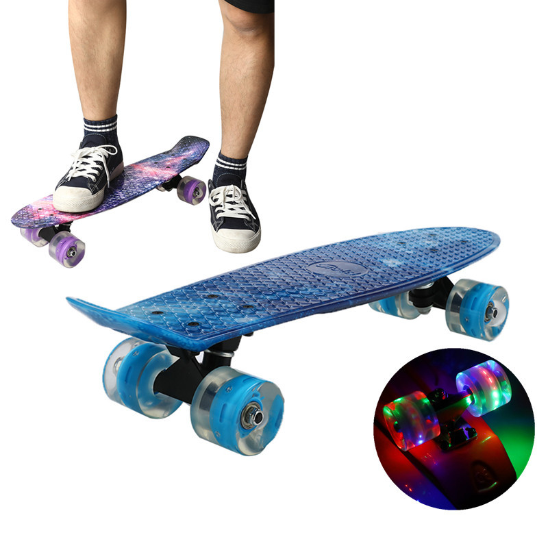 22inch Skate Board Flashing Light Mini Cruiser Skateboard Plastic Starry Sky Galaxy Printed Longboard Street Outdoor Sport
