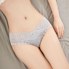 Lace panties womens low waist sexy hot ultra-thin no trace mesh girl cotton ice silk ladies briefs Breathable, trace, hip