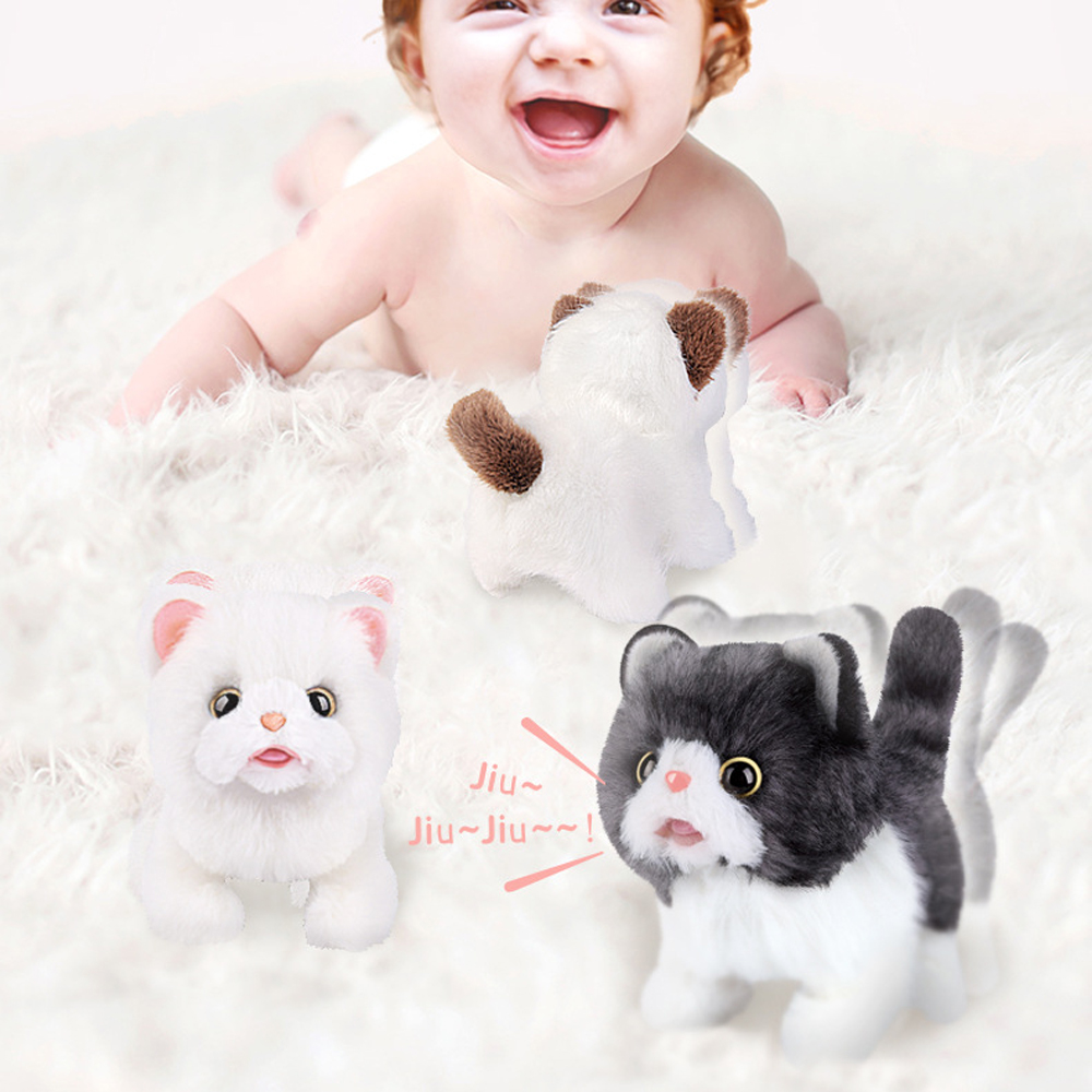 Baby Cute Electronic Pets Sound Control Robot Cats Stand Walk Electric Pets Cute Interactive Toys Cat Plush Baby Birthday Gift