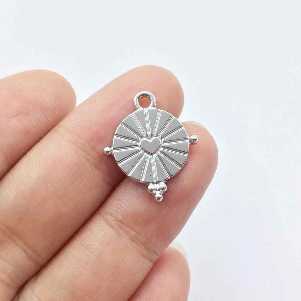 Eruifa 20pcs חם 15mm נחמד מטבע אבץ סגסוגת DIY קסמי תליון תכשיטים בעבודת יד DIY 2 צבעים