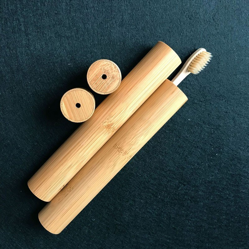 Portable Bamboo Toothbrush Boxes Outdoor Travel Hiking Camping Toothbrush Storage Drain Holder Organizer Case Storage Boxes image