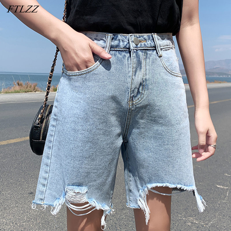 FTLZZ New Summer Women Streetwear Hole Wide Leg Blue Denim Shorts Vintage Female High Waist Solid Color Jeans Shorts