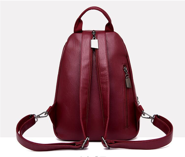 Details about  /Women Leather Backpack School Travel Teenage Laptop Casual Large Capacity Bag
