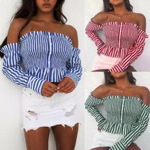 2019 Sexy Striped Printed Off The Shoulder Long Sleeve Women Tops Summer T Shirt and