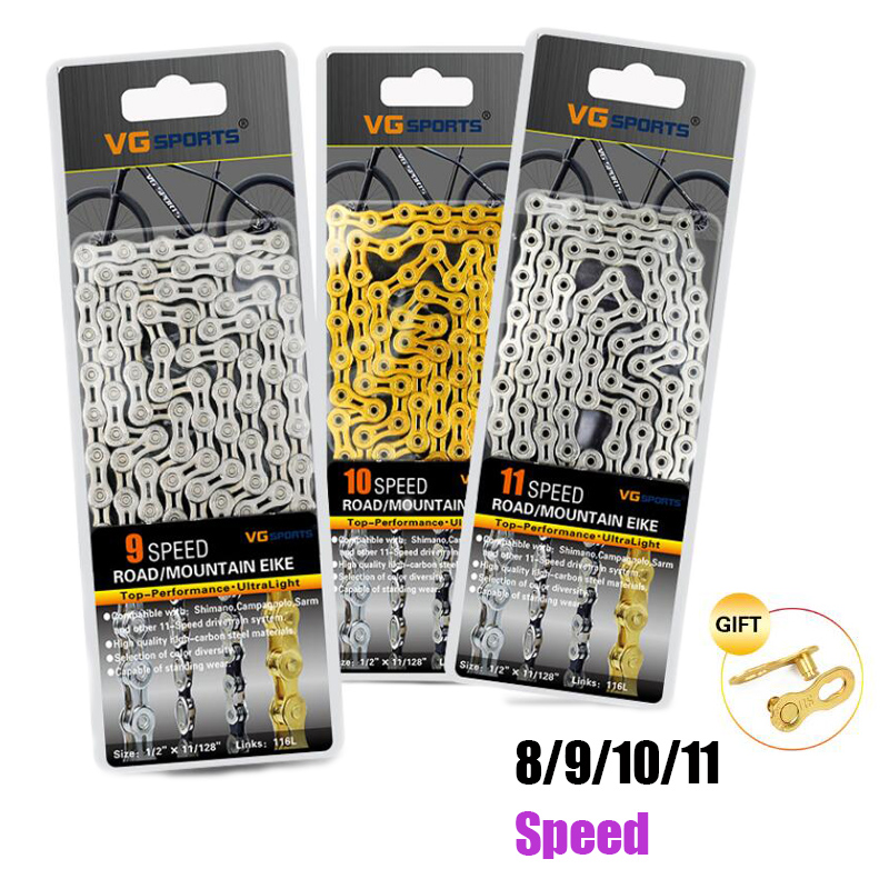 VG Sports 8 9 10 11 Speed Bicycle Chain Silver Half Hollow Bike Chain Mountain Road Bike Full Hollow Chains Ultralight 116L Gold