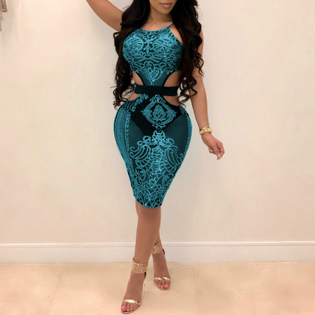 Halter Sequined Hollow Out Sleeveless Backless Dress 2