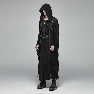 Image 2 - PUNK RAVE Mens Punk Retro Dark Japanese Long Jacket Stripe Metal Buckle Decoration Large Sleeves Loose Hooded Trench Coat