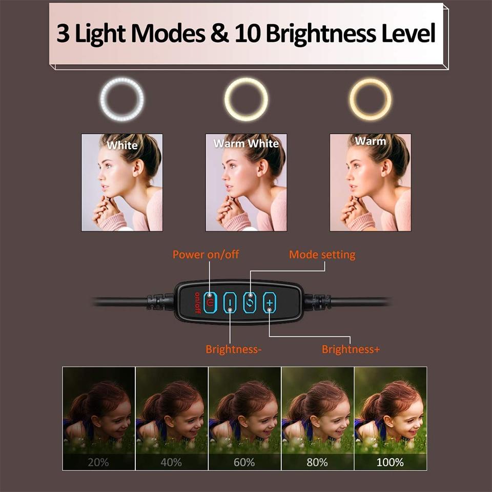 26cm Photo Ringlight Led Selfie Ring Light Phone Bluetooth Remote Lamp Photography Lighting Tripod Holder Youtube Video 3