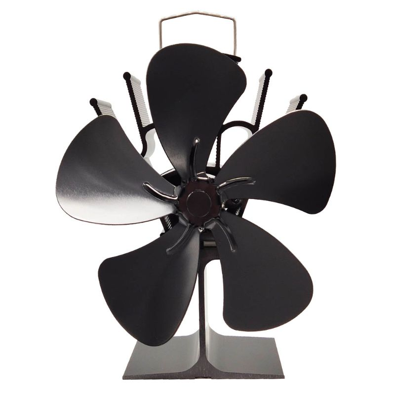 5 Blades Heat Powered Stove Fireplace Eco Friendly Black  Fan Smooth Thicken Energy Saving Wood Burner -Furnace Fan
