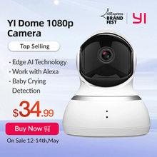 YI — Caméra dôme sans fil à vision nocturne, système de sécurité IP à résolution HP de 1080p à placer à l'intérieur, vision panoramique en s'inclinant et possibilité de zoom et technologie qui suit les mouvements