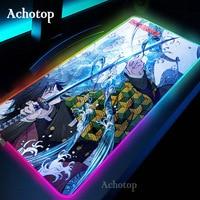 Anime demonio asesino alfombrilla de ratón para juegos RGB LED jugador Mat almohadilla para teclado de ordenador de mesa Kamado Nezuko Locrkand manga mat