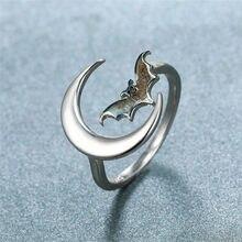 Preto do vintage bat abertura anéis ajustáveis para mulheres homens cor de prata original animal jóias masculino feminino punk anel dia das bruxas