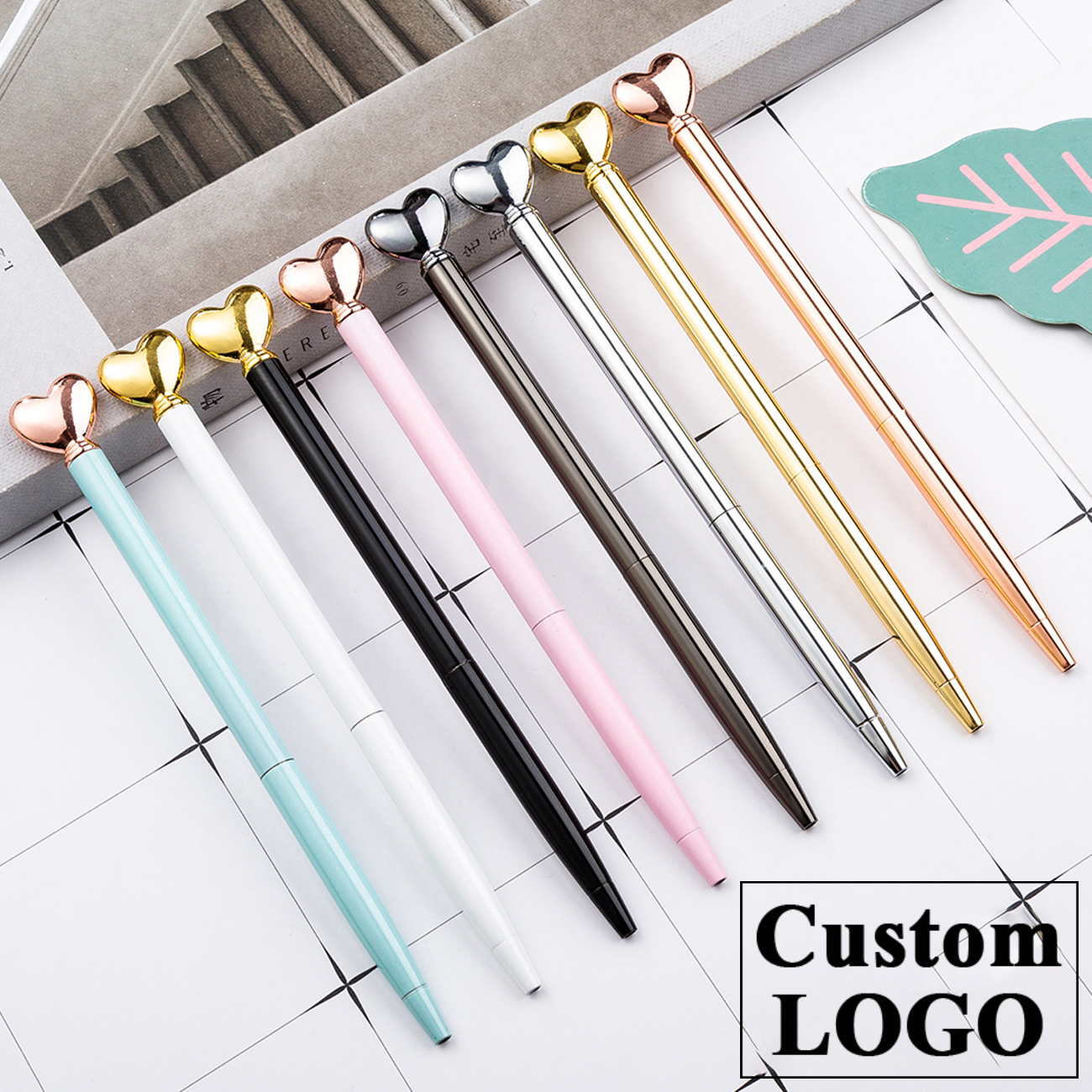 Metal Pen Love Shape Ballpoint Pen Gift Advertising Pen Wedding Gift Ballpoint Pen Novelty Pens Office&school Supply Custom LOGO