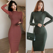 korean style spring autumn knitted midi dress women casual fashion stripe side split sexy bodycon elastic sweater ladies dresses(China)