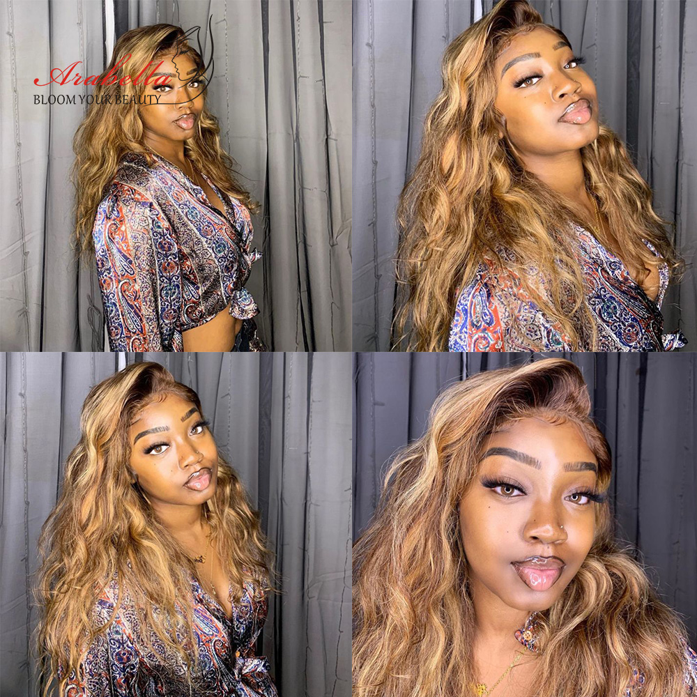Deep Wave Wig Blonde Streaks  Wigs 13*4 Lace Front Wig With Baby Hair Arabella  Glueless Lace Front Highlight Wig 3