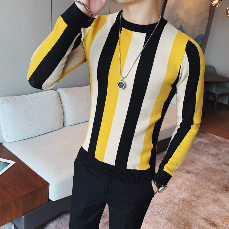 Winter Colorful Stripe Sweater Men Fashion Round Collar Slim Fit Pull Homme All Match Streetwear Knitted Pullover Men Sweaters