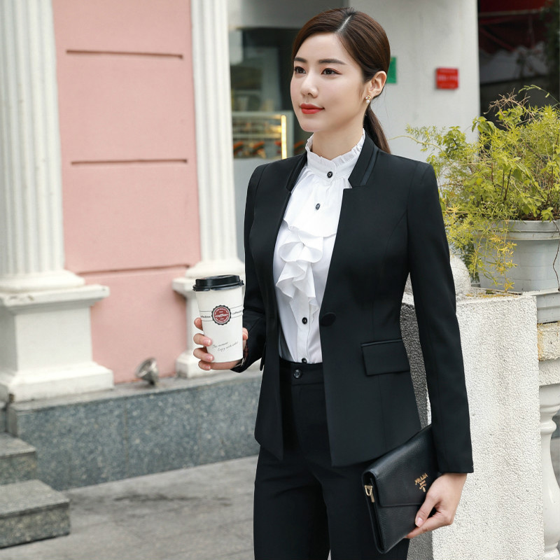 IZICFLY New Black Autumn Women Suit With Pants Office Uniform Style Business Spring Ladies Trouser Suits Work Wear Blazer Set