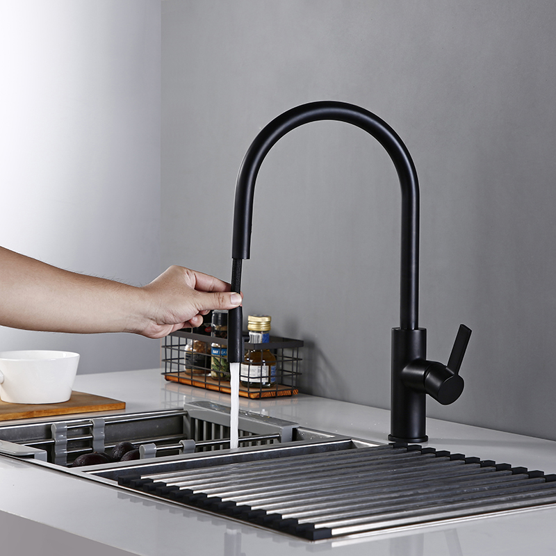 New Arrival Kitchen Faucet Swivel With Invisible Pull Out Nozzle Sprayer Gooseneck Pull Down Mixer Sink Tap In Matt Black