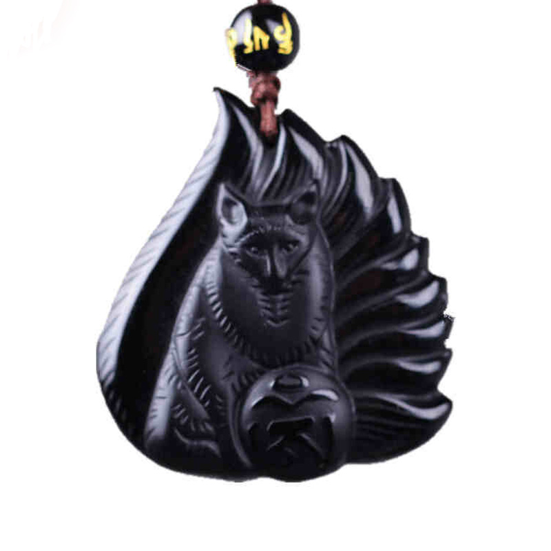Natural Black A Obsidian Fox Pendant Drop Shipping Lucky Amulet Nine-tailed Fox Crystal Necklace For Women Men Gift