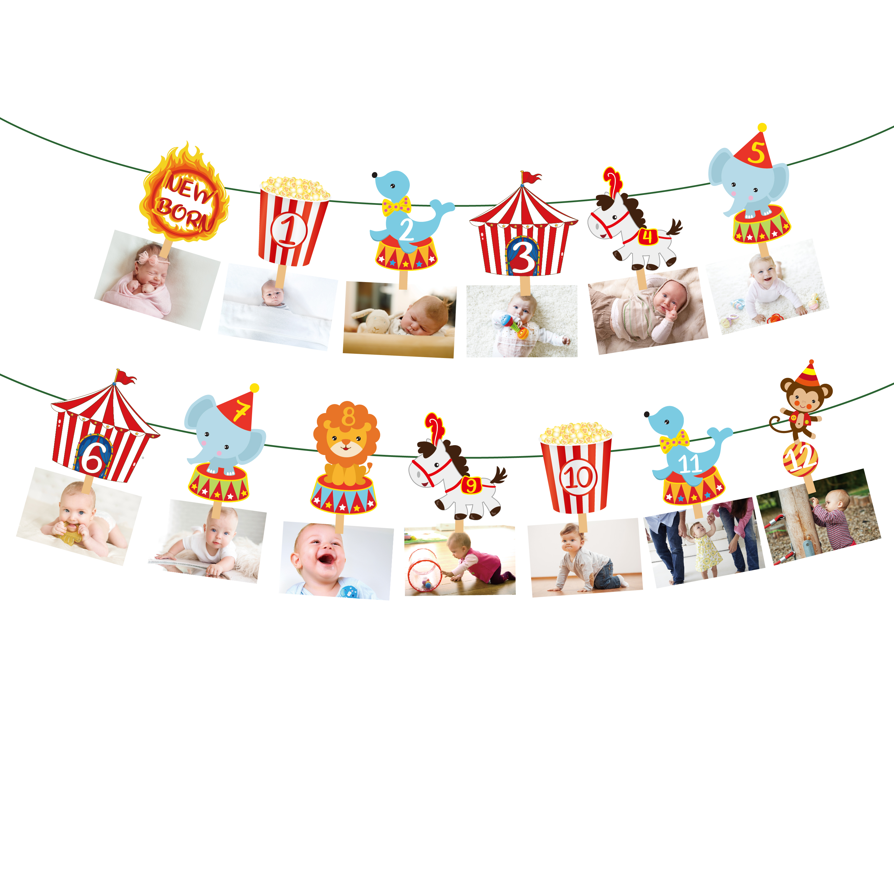 Baby Shower Carnival Circus Photo Display Banner Cartoon Animal Wall Hanging Banner Decorations Kids Birthday Party Supplies
