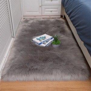 Bedroom carpet Soft fluffy Sheepskin Fur Area Rugs nordic red center living room carpet Bedroom Floor White Faux Fur Bedside Rug(China)