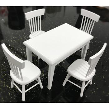 5 sztuk drewniany stół zestaw krzeseł Mini meble dla lalek Model do 1 12 domek dla lalek Play zabawki domowe NSV775 tanie i dobre opinie 14 lat 2-4 lat 5-7 lat Dorośli 8 ~ 13 Lat Urodzenia ~ 24 Miesięcy