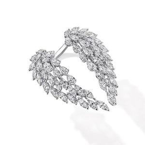 Image 4 - Кольцо с крыльями ангела choucong, кольцо обещания из стерлингового серебра 925 пробы с фианитом маркиза AAAAA, обручальное кольцо с цветком для женщин, ювелирные изделия вечерние Ринок