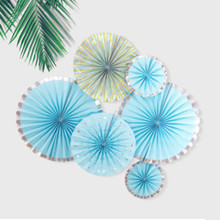 6pcs/set Paper Rosette Fans Home Wall Decorations Birthday Party Backdrop Gender Reveal Baby Shower Decoration Home Decoration(China)