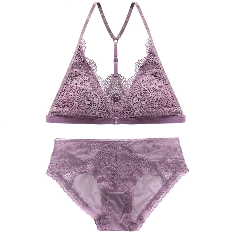 Front Closure Bra Set French Bralette Y Line Straps  Triangle Cup Mesh Inner Unlined  Plunge Wire Free Breathable