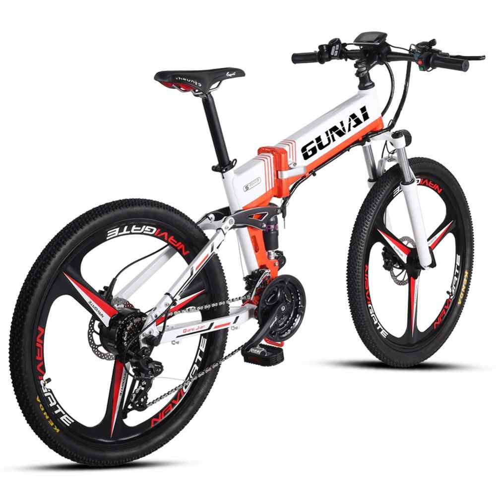 GUNAI Folding Electric Mountain Bike 26 inch E-bike for Adult with Rear Seat with 48V Lithium-lon Battery and 500W Power Motor 21 Speed