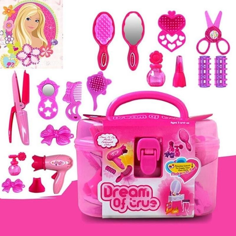 Fashion Girl Makeup Toy Kids Hair Salon Kit 3D Cosmetic Bag Pretend Play Hairdressing Simulation Toy Kids Birthday Gift