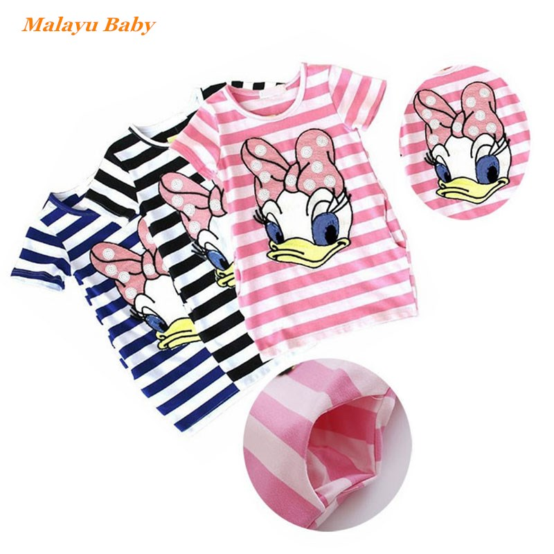 2016 latest summer girls striped dress children cartoon Donald Duck, the two sides in my pocket dress 2-7 years  A122