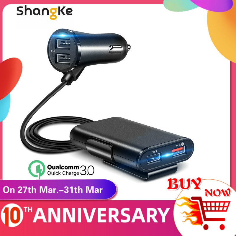 Shangke 4 USB QC 3.0 Car Charger Quick Charge 3.0 Phone Car Fast Front Back Charger Adapter Car Portable Charger Plug for iPhone title=