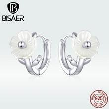 BISAER 925 Sterling Silver White Enamel Orchid Flowers Stud Earrings for Women Jewelry GAE321
