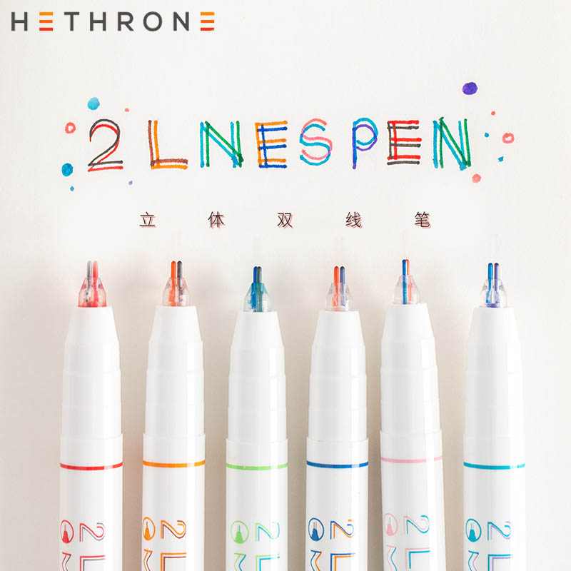 Hethrone 3pcs/set Two-color Marking Two-line Marker Highlighter Colorful Art Marker Pen Supplies Painting Office Markers Pens