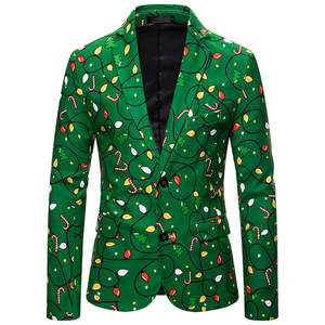 Jacket Men Suit Blazer-Buttons-Suit Painting Party-Coat Slim-Fit Floral-Print Christmas