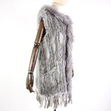 Harppihop fur New natural Fur Vest Genuine Rabbit Fur Knitted Gilet with Hooded Long Coat Jackets Women Winter V 211 05