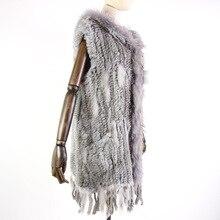 Новый жилет из натурального меха Harppihop, вязаный жилет из натурального кроличьего меха с капюшоном, длинное пальто, женские зимние жилеты