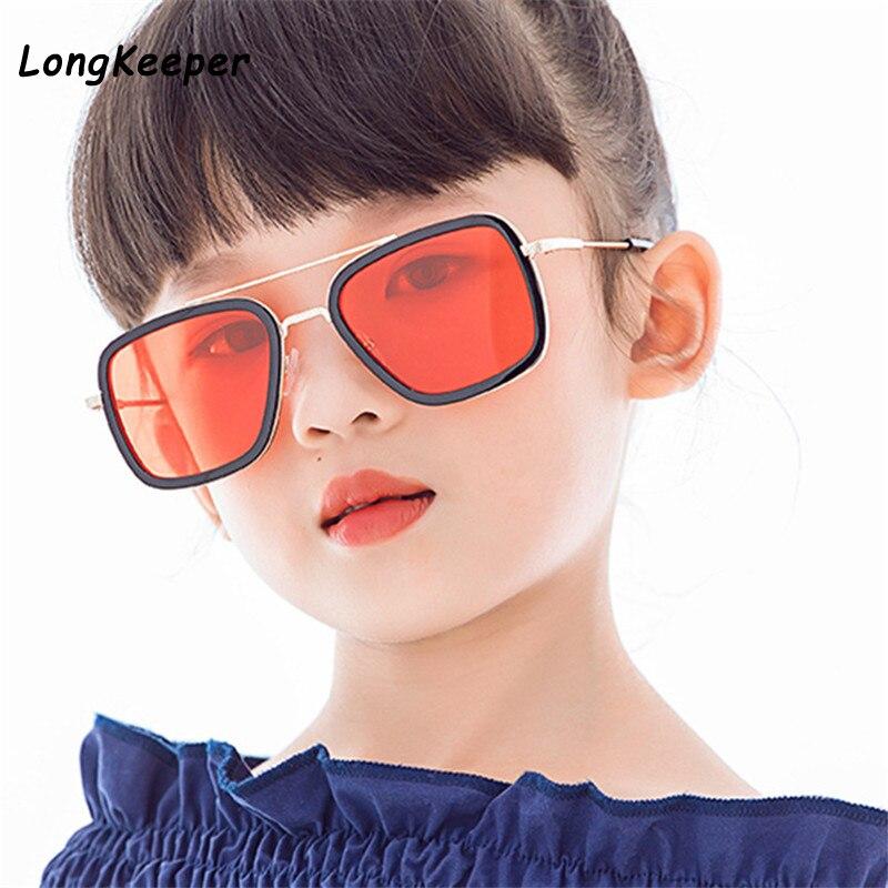 Kids Tony Stark Sunglasses Metal Square Vintage Iron Man Eyewear For Girls Boys Pilot Punk 6-14 years old Children Sun Glasses