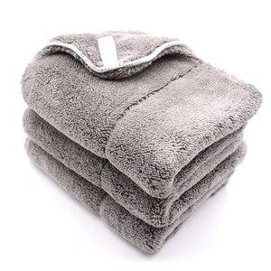 Image 5 - Chiffon de nettoyage de voiture en peluche, 3 pièces, 40cm x 30cm, 800g/m2, peluche Super épaisse, chiffon de nettoyage de voiture, lavage, cire, polissage, serviette de détail